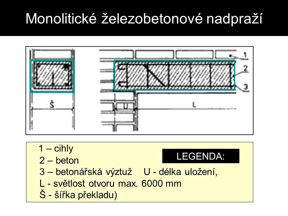 Monolitické železobetonové nadpraží 1 – cihly 2 – beton 3 – betonářská výztuž U - délka uložení, L - světlost otvoru max.