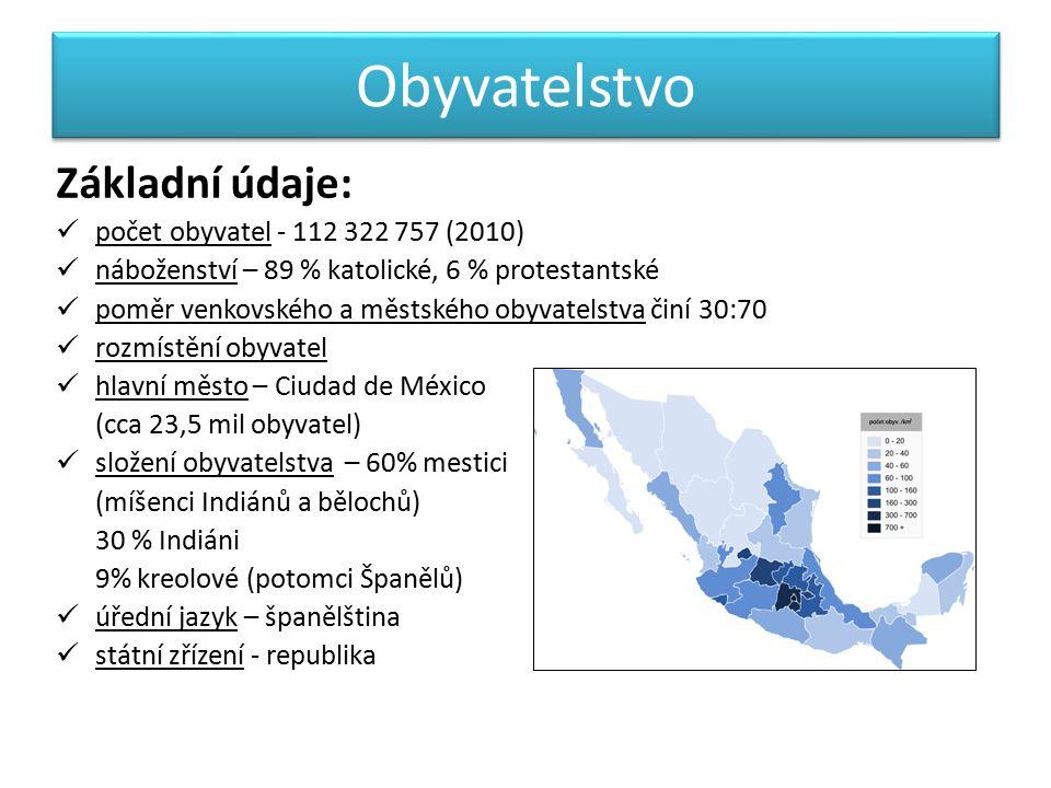 Obyvatelstvo Základní údaje: počet obyvatel - 112 322 757 (2010) náboženství – 89 % katolické, 6 % protestantské poměr venkovského a městského obyvatelstva činí 30:70 rozmístění obyvatel hlavní město – Ciudad de México (cca 23,5 mil obyvatel) složení obyvatelstva – 60% mestici (míšenci Indiánů a bělochů) 30 % Indiáni 9% kreolové (potomci Španělů) úřední jazyk – španělština státní zřízení - republika