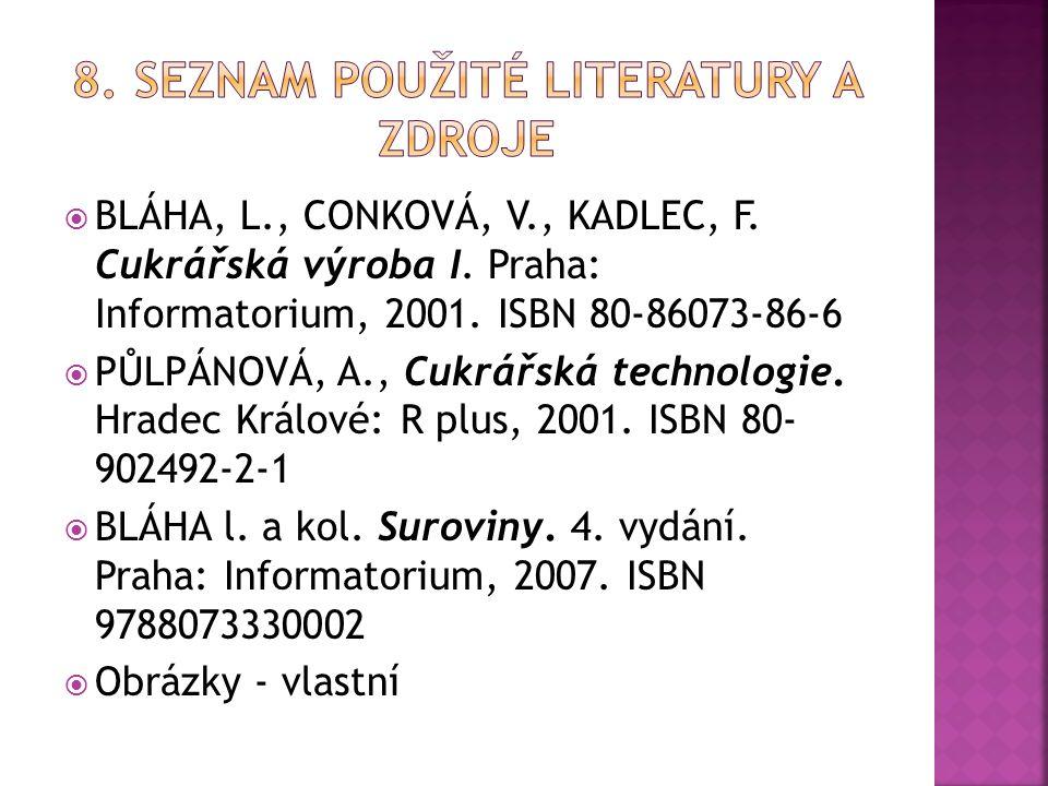  BLÁHA, L., CONKOVÁ, V., KADLEC, F. Cukrářská výroba I.