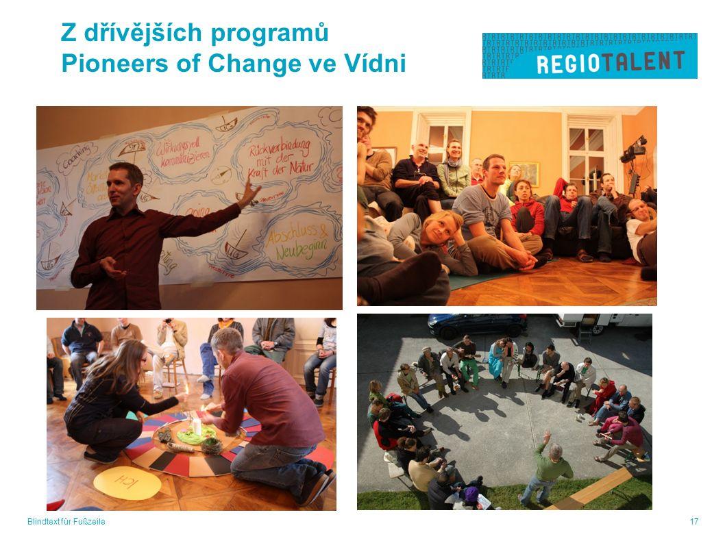 Blindtext für Fußzeile17 Z dřívějších programů Pioneers of Change ve Vídni