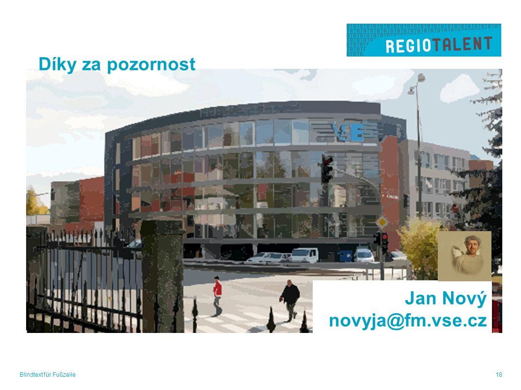 Blindtext für Fußzeile18 Jan Nový novyja@fm.vse.cz Díky za pozornost