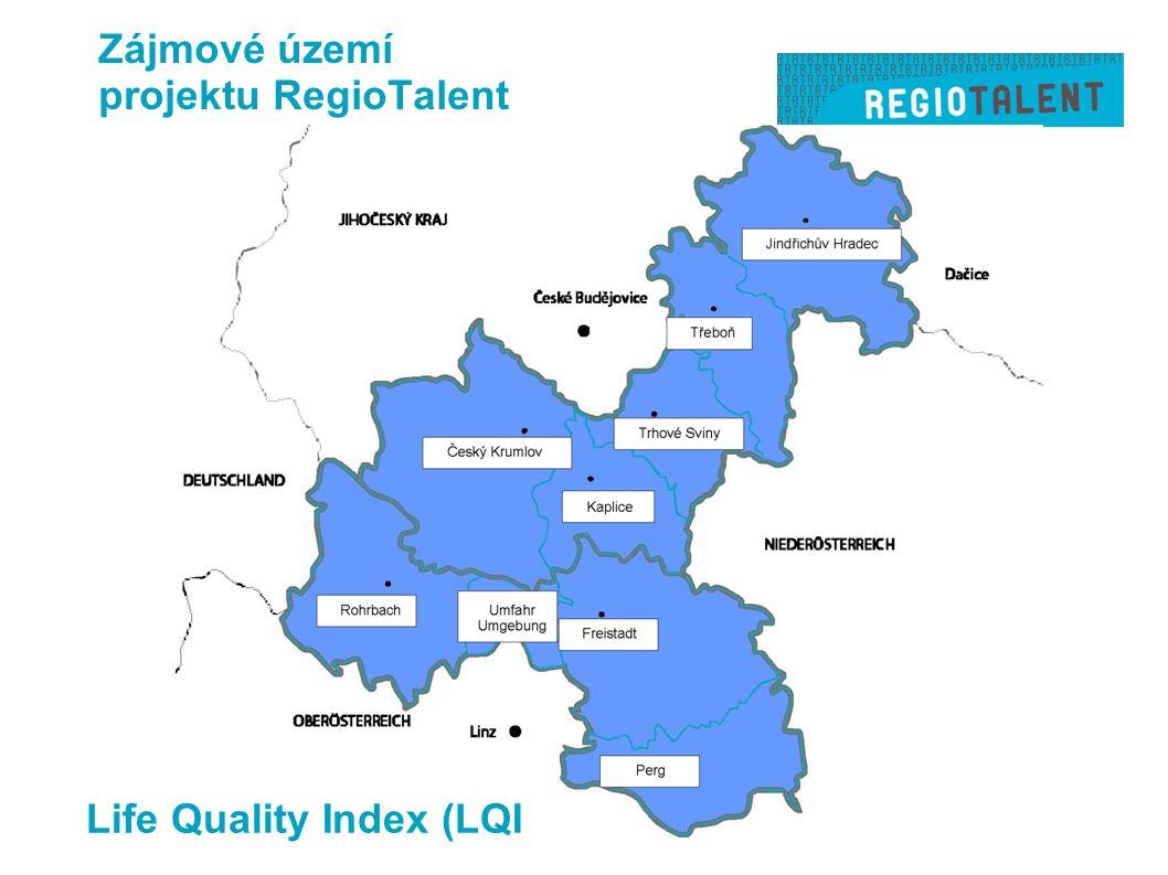 Zájmové území projektu RegioTalent Life Quality Index (LQI