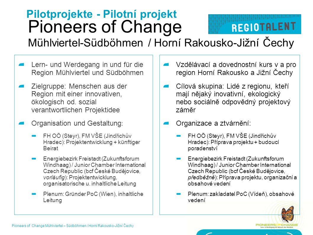 Pioneers of Change Mühlviertel-Südböhmen / Horní Rakousko-Jižní Čechy Lern- und Werdegang in und für die Region Mühlviertel und Südböhmen Zielgruppe: