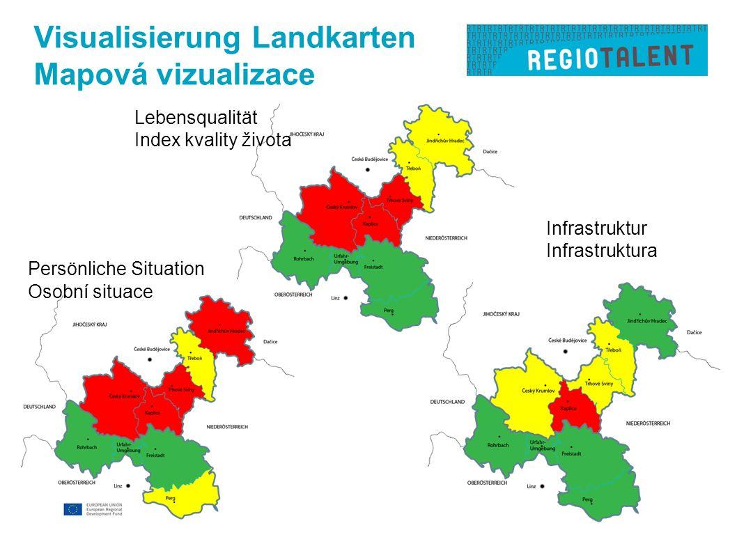 Visualisierung Landkarten Mapová vizualizace Persönliche Situation Osobní situace Infrastruktur Infrastruktura Lebensqualität Index kvality života