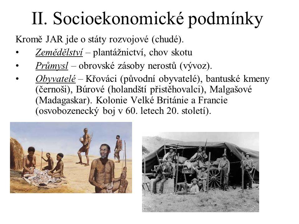 II. Socioekonomické podmínky Kromě JAR jde o státy rozvojové (chudé).