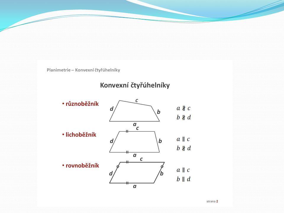 Rovnoběžník Rovnoběžník je čtyřúhelník, který má dvě protější strany rovnoběžné.