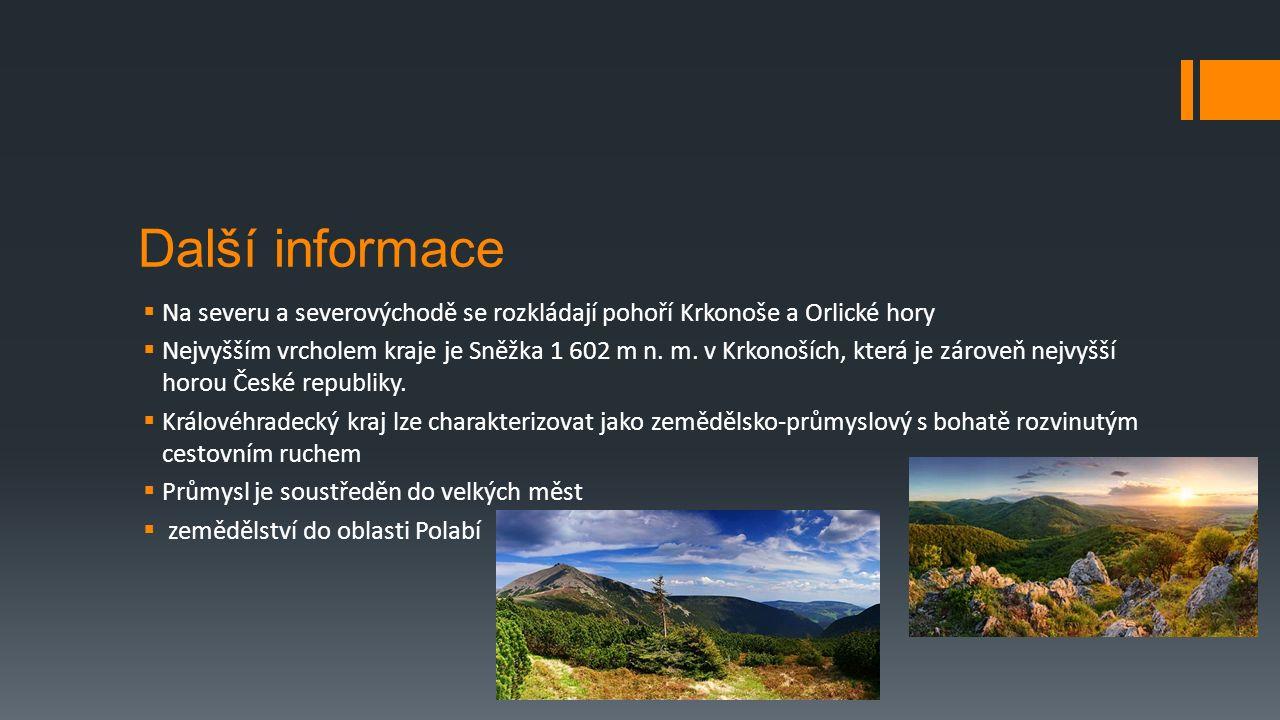 Další informace  Na severu a severovýchodě se rozkládají pohoří Krkonoše a Orlické hory  Nejvyšším vrcholem kraje je Sněžka 1 602 m n.