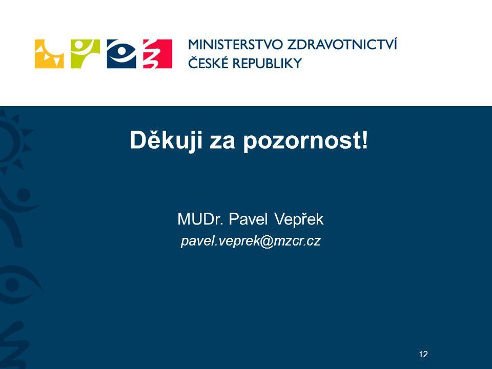Děkuji za pozornost! MUDr. Pavel Vepřek pavel.veprek@mzcr.cz 12