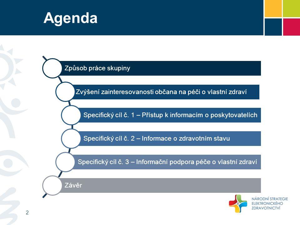 Agenda Způsob práce skupiny Zvýšení zainteresovanosti občana na péči o vlastní zdraví Specifický cíl č.