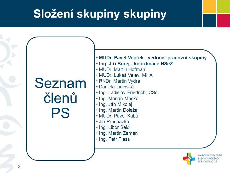 Složení skupiny skupiny MUDr. Pavel Vepřek - vedoucí pracovní skupiny Ing.