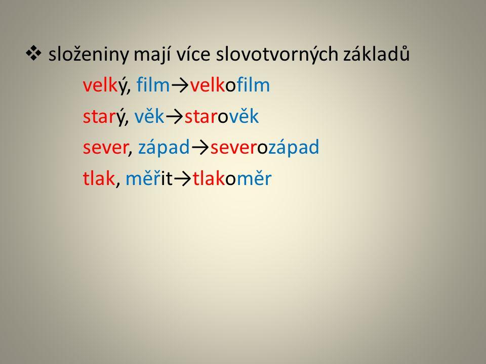  složeniny mají více slovotvorných základů velký, film→velkofilm starý, věk→starověk sever, západ→severozápad tlak, měřit→tlakoměr