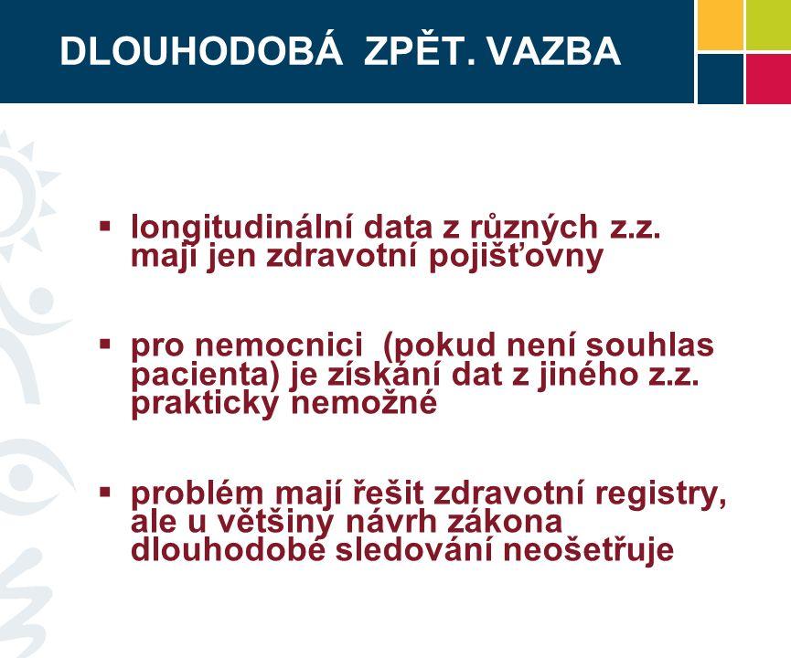 DLOUHODOBÁ ZPĚT. VAZBA  longitudinální data z různých z.z.