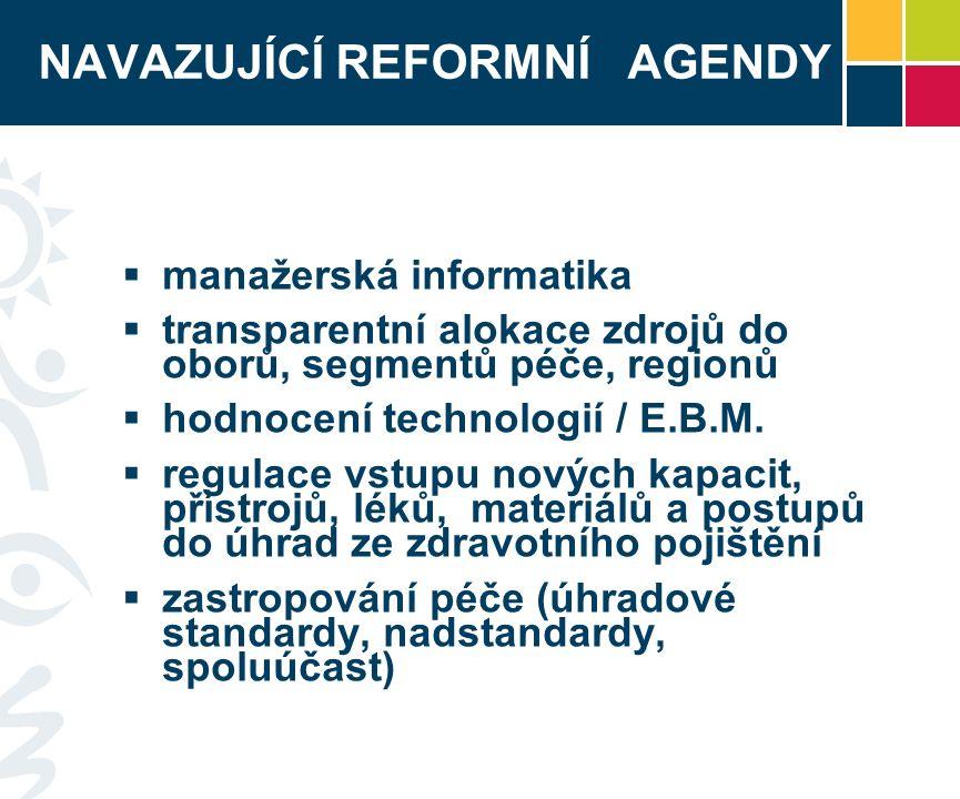NAVAZUJÍCÍ REFORMNÍ AGENDY  manažerská informatika  transparentní alokace zdrojů do oborů, segmentů péče, regionů  hodnocení technologií / E.B.M.