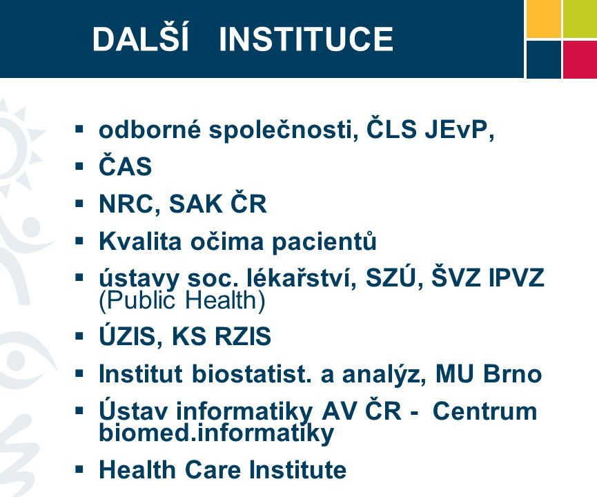 DALŠÍ INSTITUCE  odborné společnosti, ČLS JEvP,  ČAS  NRC, SAK ČR  Kvalita očima pacientů  ústavy soc.