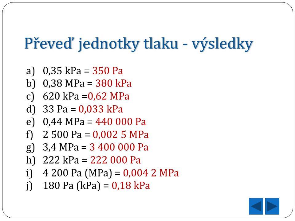 Převeď jednotky tlaku - výsledkyPřeveď jednotky tlaku - výsledky a)0,35 kPa = 350 Pa b)0,38 MPa = 380 kPa c)620 kPa =0,62 MPa d)33 Pa = 0,033 kPa e)0,44 MPa = 440 000 Pa f)2 500 Pa = 0,002 5 MPa g)3,4 MPa = 3 400 000 Pa h)222 kPa = 222 000 Pa i)4 200 Pa (MPa) = 0,004 2 MPa j)180 Pa (kPa) = 0,18 kPa