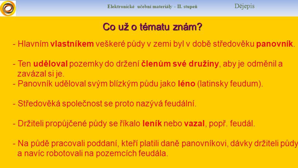 Elektronické učební materiály - II. stupeň Dějepis Co už o tématu znám.