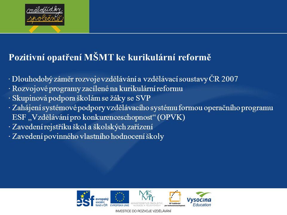 """Pozitivní opatření MŠMT ke kurikulární reformě · Dlouhodobý záměr rozvoje vzdělávání a vzdělávací soustavy ČR 2007 · Rozvojové programy zacílené na kurikulární reformu · Skupinová podpora školám se žáky se SVP · Zahájení systémové podpory vzdělávacího systému formou operačního programu ESF """"Vzdělávání pro konkurenceschopnost (OPVK) · Zavedení rejstříku škol a školských zařízení · Zavedení povinného vlastního hodnocení školy"""