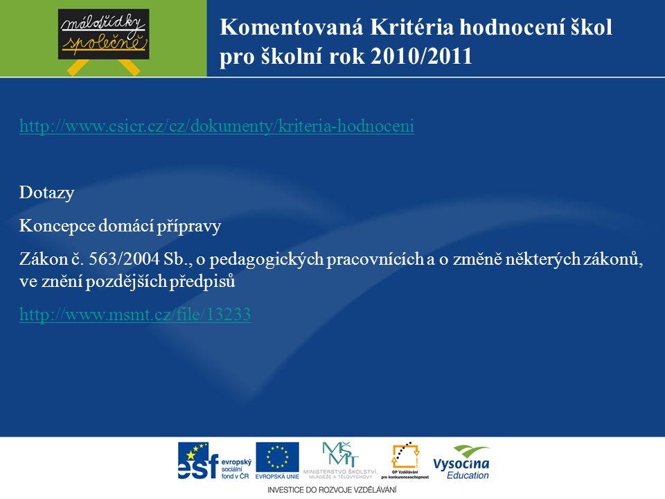 Komentovaná Kritéria hodnocení škol pro školní rok 2010/2011 http://www.csicr.cz/cz/dokumenty/kriteria-hodnoceni Dotazy Koncepce domácí přípravy Zákon č.