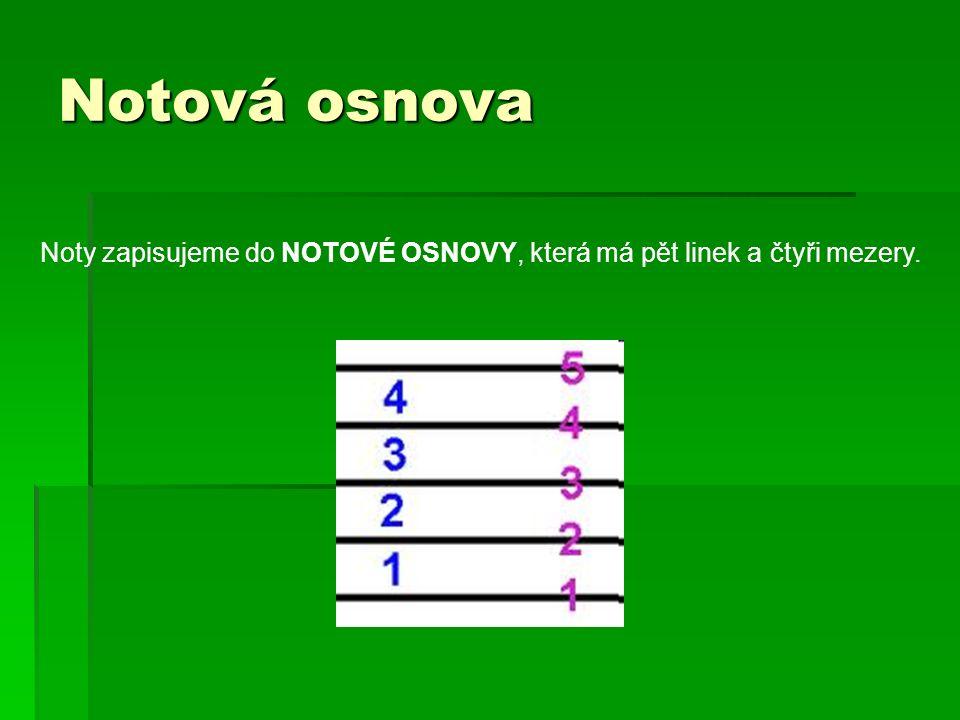 Notová osnova Noty zapisujeme do NOTOVÉ OSNOVY, která má pět linek a čtyři mezery.