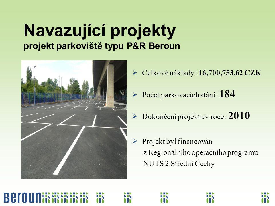 Navazující projekty projekt parkoviště typu P&R Beroun  Celkové náklady: 16,700,753,62 CZK  Počet parkovacích stání: 184  Dokončení projektu v roce: 2010  Projekt byl financován z Regionálního operačního programu NUTS 2 Střední Čechy