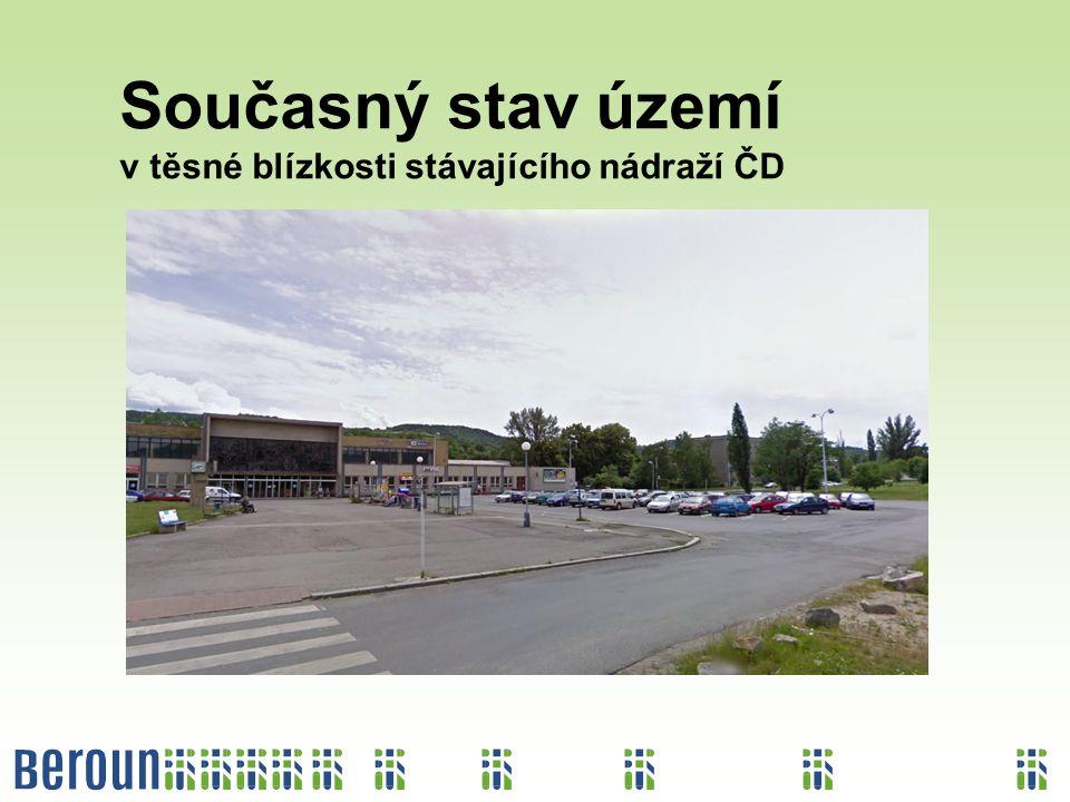 Současný stav území v těsné blízkosti stávajícího nádraží ČD