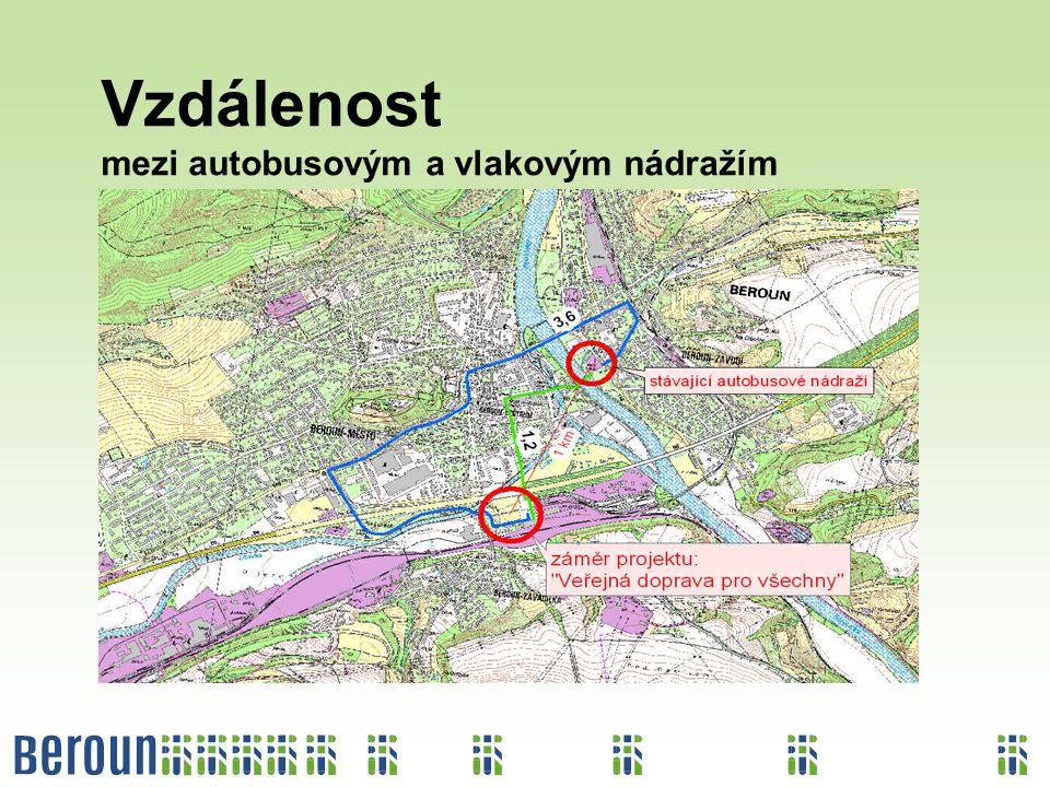 Vzdálenost mezi autobusovým a vlakovým nádražím