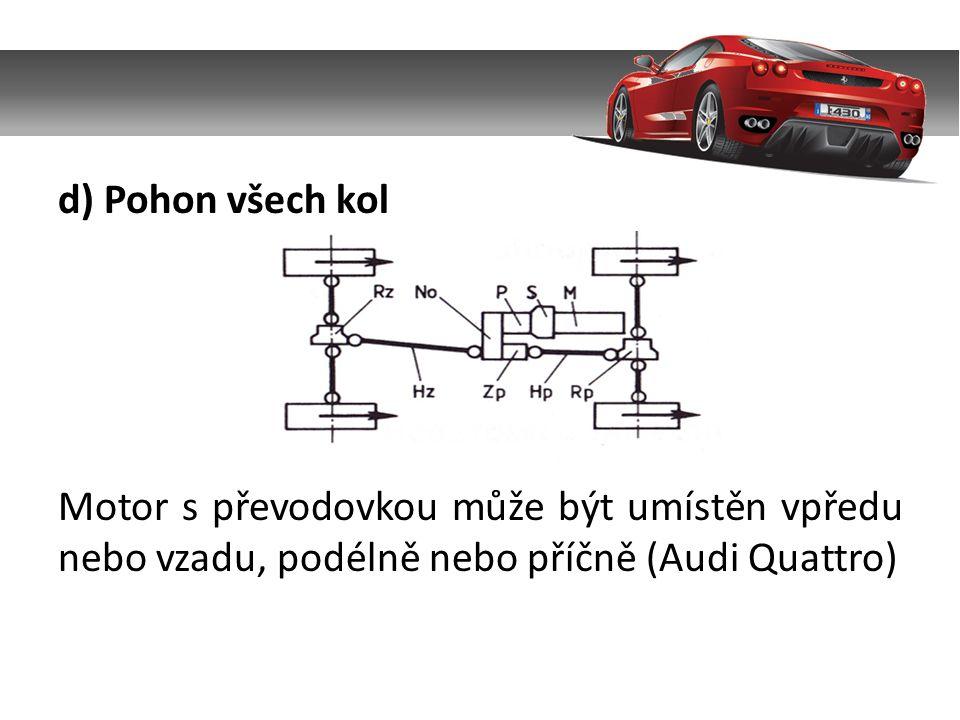 d) Pohon všech kol Motor s převodovkou může být umístěn vpředu nebo vzadu, podélně nebo příčně (Audi Quattro)