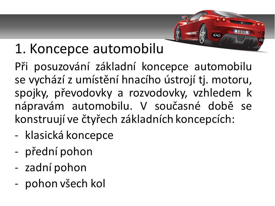 Při posuzování základní koncepce automobilu se vychází z umístění hnacího ústrojí tj.
