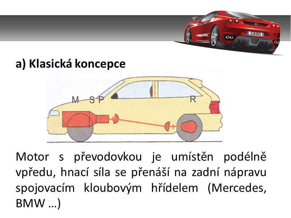 a) Klasická koncepce Motor s převodovkou je umístěn podélně vpředu, hnací síla se přenáší na zadní nápravu spojovacím kloubovým hřídelem (Mercedes, BMW …)