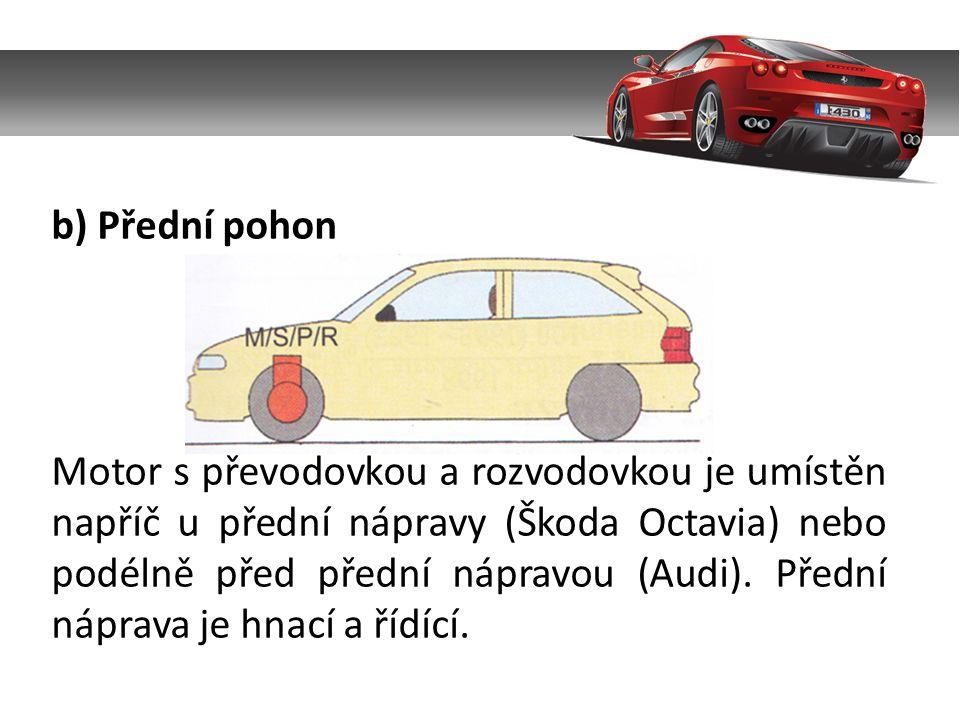 b) Přední pohon Motor s převodovkou a rozvodovkou je umístěn napříč u přední nápravy (Škoda Octavia) nebo podélně před přední nápravou (Audi).