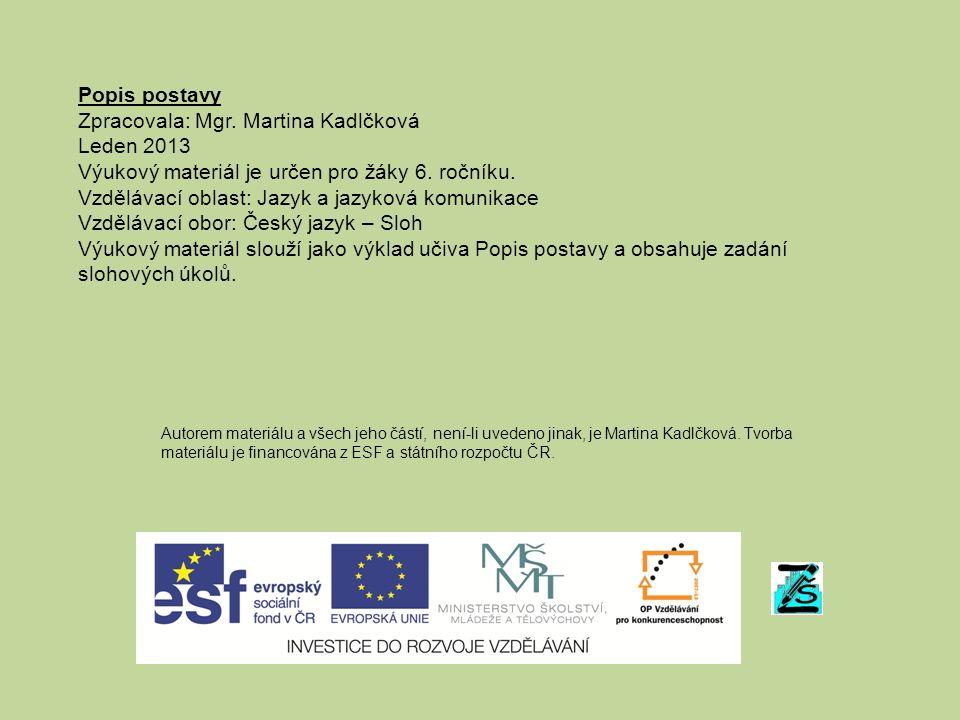 Popis postavy Zpracovala: Mgr. Martina Kadlčková Leden 2013 Výukový materiál je určen pro žáky 6.