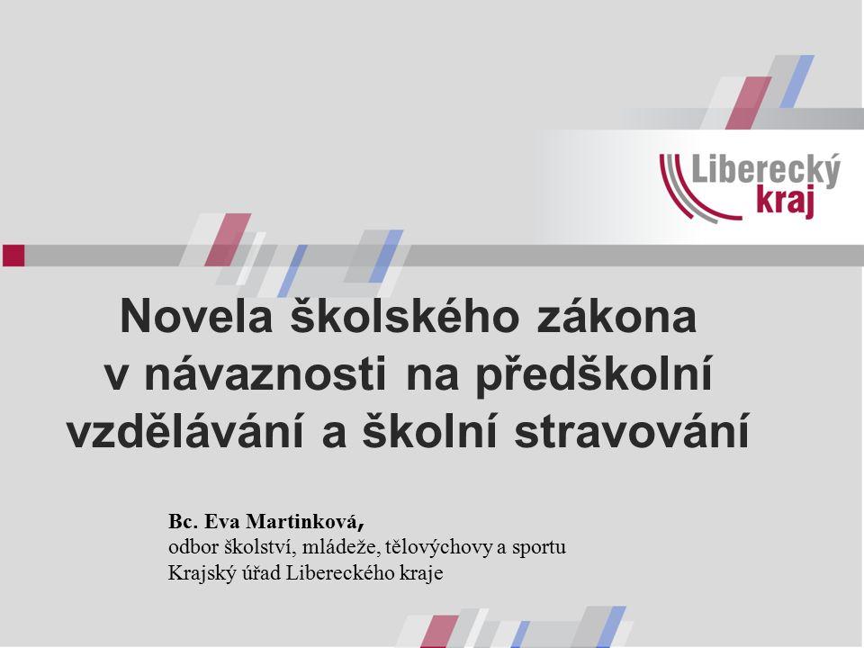 Novela školského zákona v návaznosti na předškolní vzdělávání a školní stravování Bc.