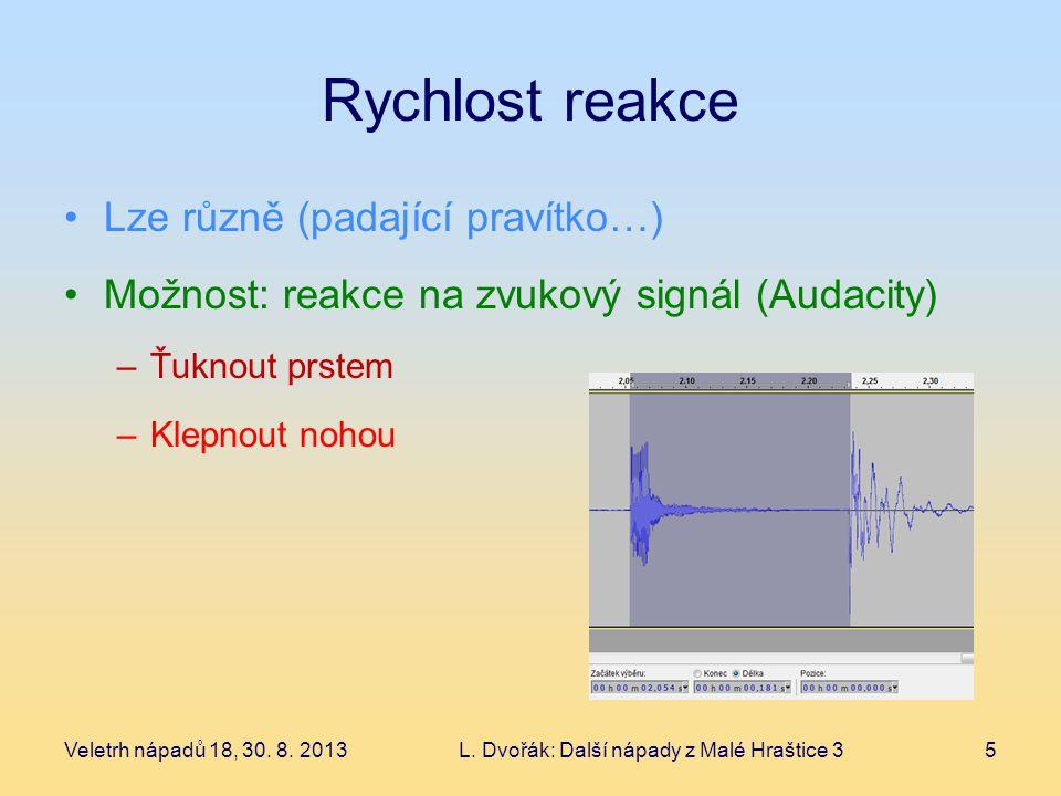 Rychlost reakce Lze různě (padající pravítko…) Možnost: reakce na zvukový signál (Audacity) –Ťuknout prstem –Klepnout nohou Veletrh nápadů 18, 30.
