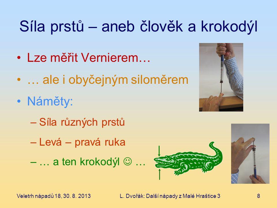 Síla prstů – aneb člověk a krokodýl Lze měřit Vernierem… … ale i obyčejným siloměrem Náměty: –Síla různých prstů –Levá – pravá ruka –… a ten krokodýl … Veletrh nápadů 18, 30.