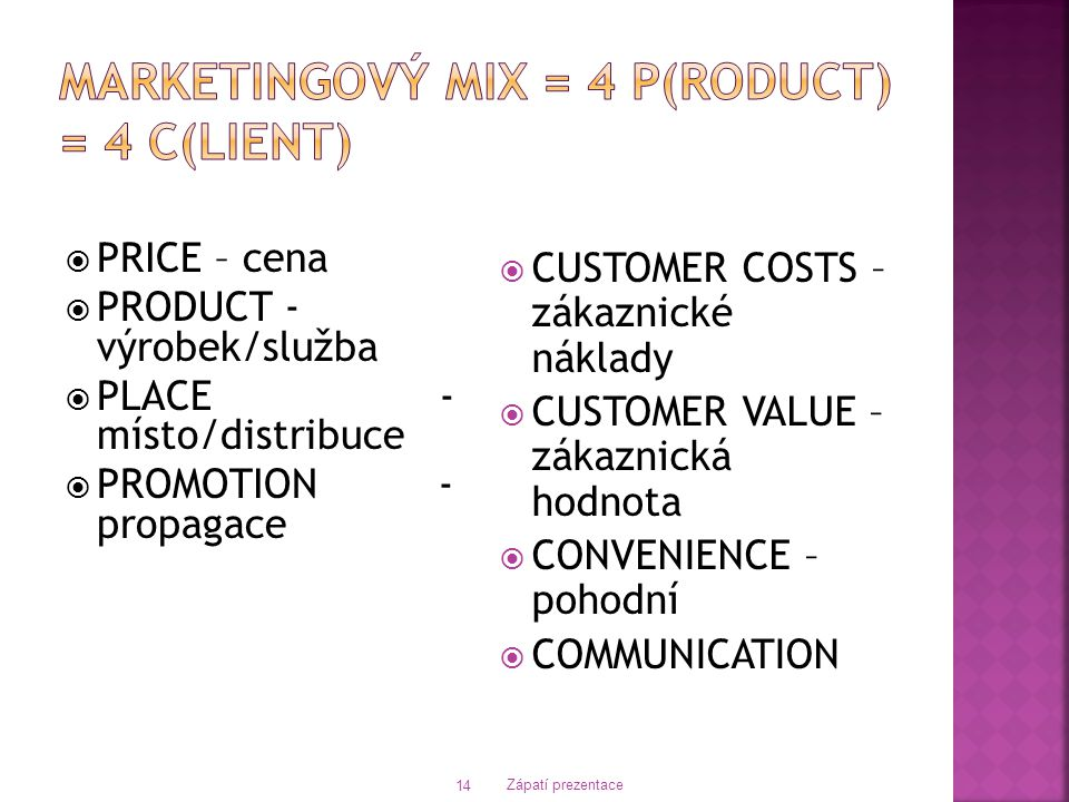  PRICE – cena  PRODUCT - výrobek/služba  PLACE - místo/distribuce  PROMOTION - propagace  CUSTOMER COSTS – zákaznické náklady  CUSTOMER VALUE – zákaznická hodnota  CONVENIENCE – pohodní  COMMUNICATION Zápatí prezentace 14