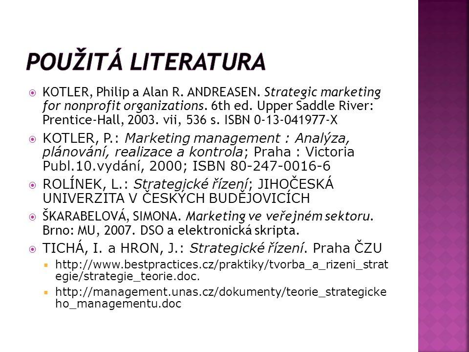  KOTLER, Philip a Alan R.ANDREASEN. Strategic marketing for nonprofit organizations.