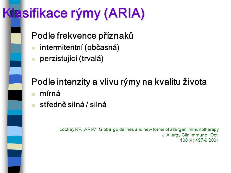 Klasifikace rýmy (ARIA) Podle frekvence příznaků intermitentní (občasná) perzistující (trvalá) Podle intenzity a vlivu rýmy na kvalitu života mírná středně silná / silná Lockey RF.