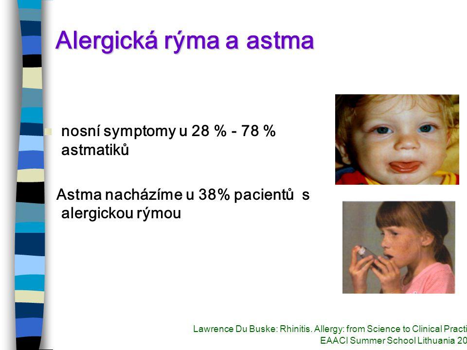 Alergická rýma a astma nosní symptomy u 28 % - 78 % astmatiků Astma nacházíme u 38% pacientů s alergickou rýmou Lawrence Du Buske: Rhinitis.