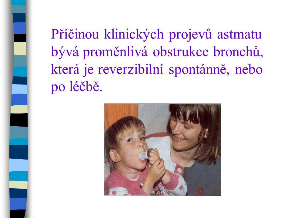 Příčinou klinických projevů astmatu bývá proměnlivá obstrukce bronchů, která je reverzibilní spontánně, nebo po léčbě.