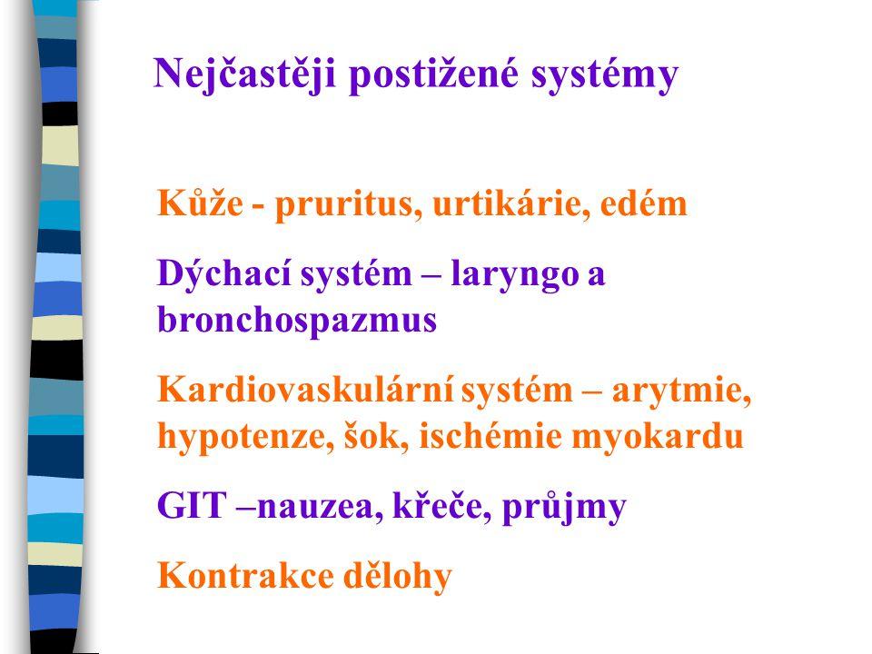 Nejčastěji postižené systémy Kůže - pruritus, urtikárie, edém Dýchací systém – laryngo a bronchospazmus Kardiovaskulární systém – arytmie, hypotenze, šok, ischémie myokardu GIT –nauzea, křeče, průjmy Kontrakce dělohy