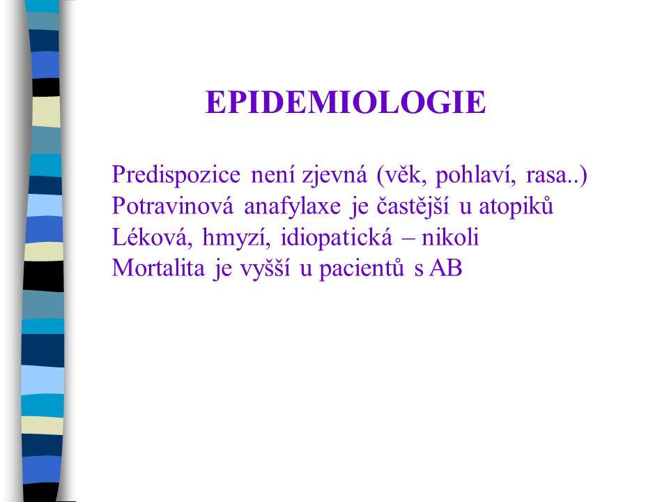 EPIDEMIOLOGIE Predispozice není zjevná (věk, pohlaví, rasa..) Potravinová anafylaxe je častější u atopiků Léková, hmyzí, idiopatická – nikoli Mortalita je vyšší u pacientů s AB