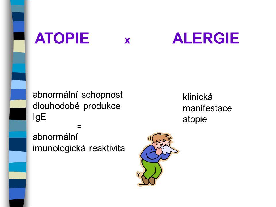 ATOPIE x ALERGIE abnormální schopnost dlouhodobé produkce IgE = abnormální imunologická reaktivita klinická manifestace atopie