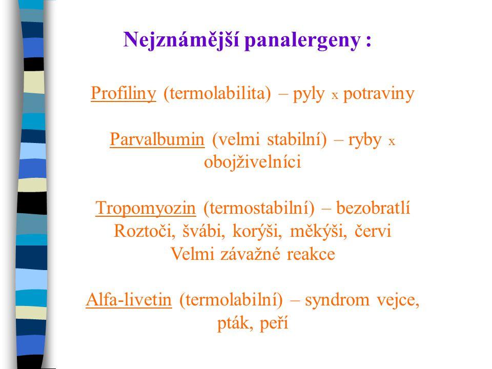 Nejznámější panalergeny : Profiliny (termolabilita) – pyly x potraviny Parvalbumin (velmi stabilní) – ryby x obojživelníci Tropomyozin (termostabilní) – bezobratlí Roztoči, švábi, korýši, měkýši, červi Velmi závažné reakce Alfa-livetin (termolabilní) – syndrom vejce, pták, peří