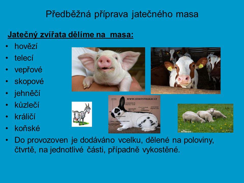 Předběžná příprava jatečného masa Jatečný zvířata dělíme na masa: hovězí telecí vepřové skopové jehněčí kůzlečí králičí koňské Do provozoven je dodává