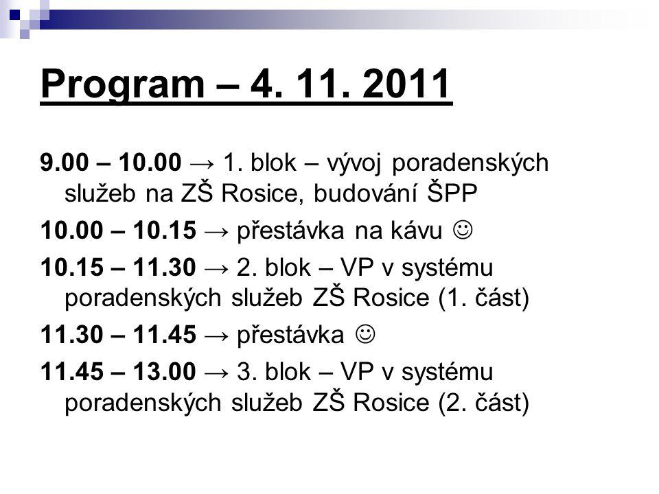 Program – 4. 11. 2011 9.00 – 10.00 → 1.