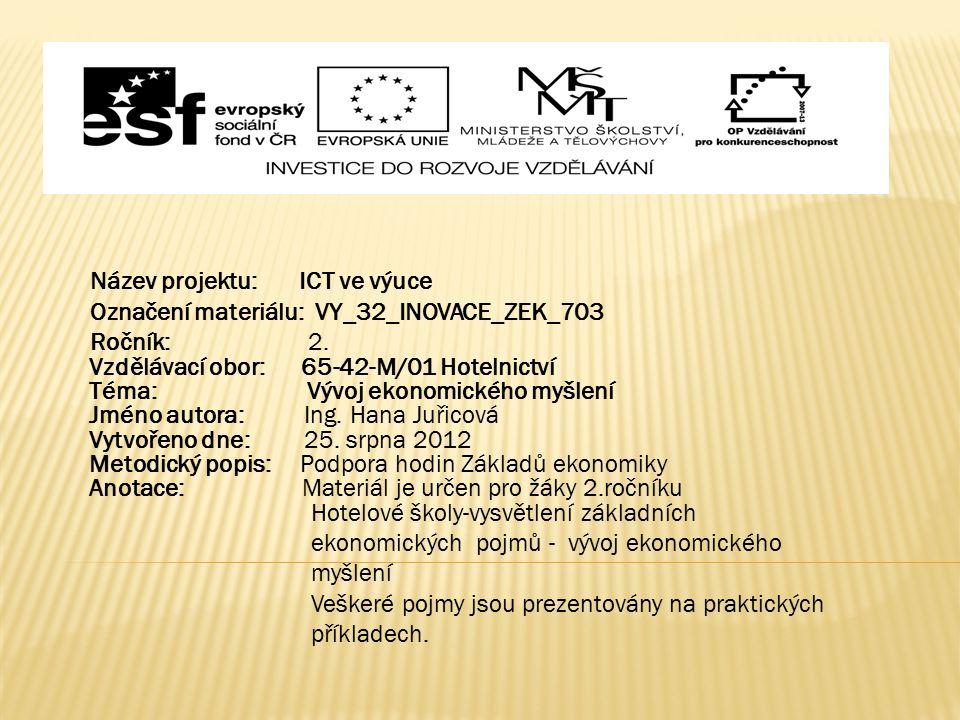 Název projektu: ICT ve výuce Označení materiálu: VY_32_INOVACE_ZEK_703 Ročník: 2.