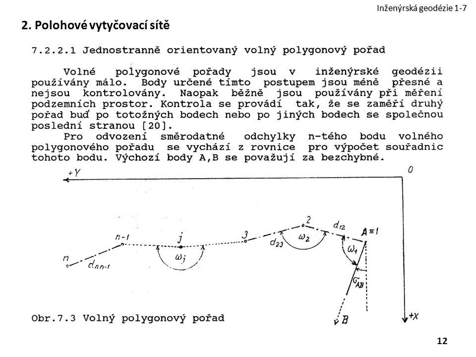 2. Polohové vytyčovací sítě 12 Inženýrská geodézie 1-7