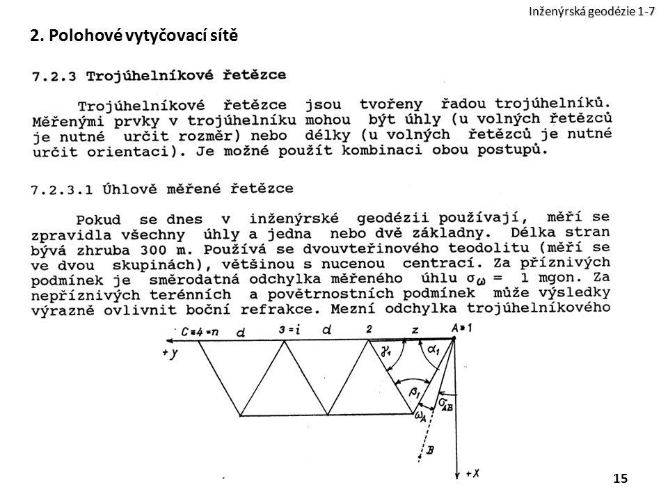 2. Polohové vytyčovací sítě 15 Inženýrská geodézie 1-7