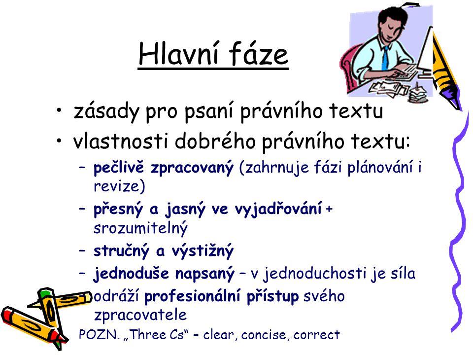 Hlavní fáze zásady pro psaní právního textu vlastnosti dobrého právního textu: –pečlivě zpracovaný (zahrnuje fázi plánování i revize) –přesný a jasný
