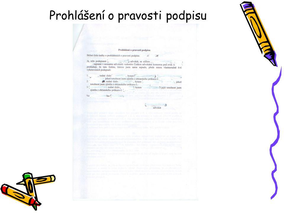 Prohlášení o pravosti podpisu